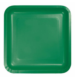 "Creative Converting Emerald Green - Plates, 7"" Square Paper 18ct"