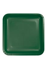 "Creative Converting Hunter Green - Plates, 7"" Square Paper 18ct"