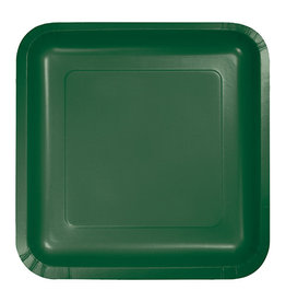 "Creative Converting Hunter Green - Plates, 7"" Square Paper 18ct"