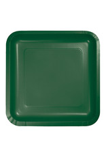 "Creative Converting Hunter Green - Plates, 9"" Square Paper 18ct"