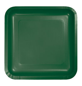"Creative Converting Hunter Green - Plates, 9"" Square Paper 18ct"
