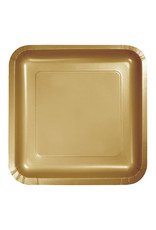 "Creative Converting Glittering Gold - Plates, 7"" Square Paper 18ct"