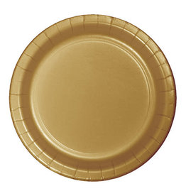 """Creative Converting Glittering Gold - Plates, 9"""" Round Paper 24ct"""