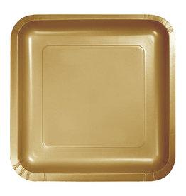 "Creative Converting Glittering Gold - Plates, 9"" Square Paper 18ct"
