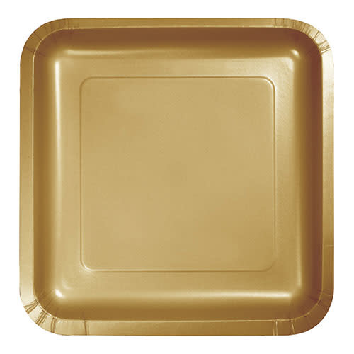 "Creative Converting Glittering Gold - Plates, 9"" Square Paper 18ct"
