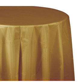 """Creative Converting Glittering Gold - Tablecover, 82"""" Rnd Plastic"""