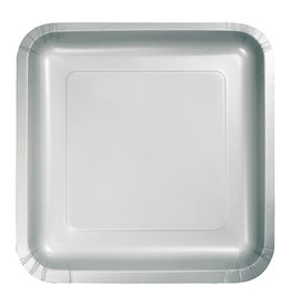 """Creative Converting Shimmering Silver - Plates, 7"""" Square Paper 18ct"""
