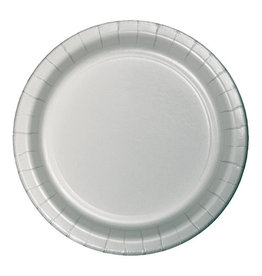 """Creative Converting Shimmering Silver - Plates, 9"""" Round Paper 24ct"""