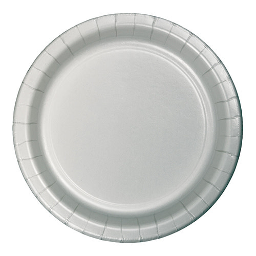 "Creative Converting Shimmering Silver - Plates, 9"" Round Paper 24ct"