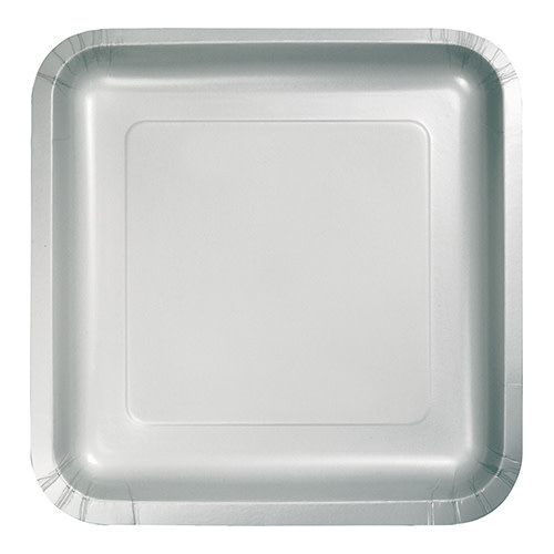 """Creative Converting Shimmering Silver - Plates, 9"""" Square Paper 18ct"""