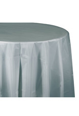 """Creative Converting Shimmering Silver - Tablecover, 82"""" Rnd Plastic"""