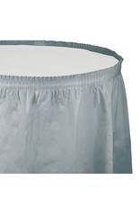 Creative Converting Shimmering Silver - Tableskirt, 14' Plastic