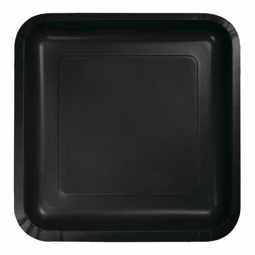 "Creative Converting Black Velvet - Plates, 7"" Square Paper 18ct"