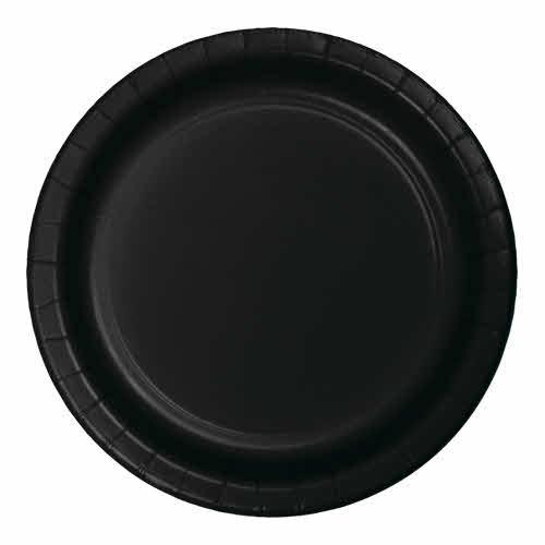"Creative Converting Black Velvet - Plates, 9"" Round Paper 24ct"
