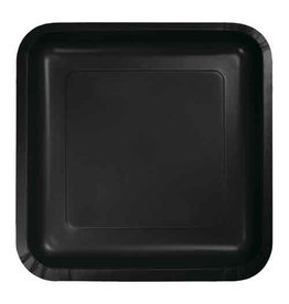 "Creative Converting Black Velvet - Plates, 9"" Square Paper 18ct"