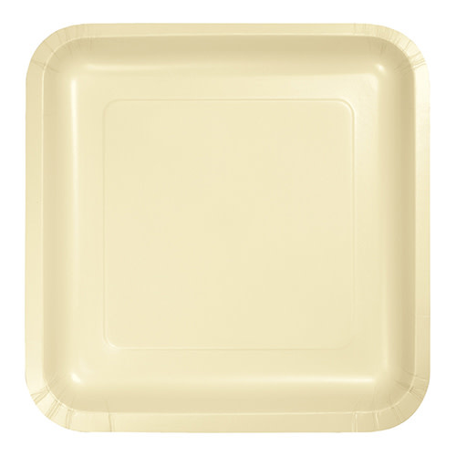"Creative Converting Ivory - Plates, 7"" Square Paper 18ct"