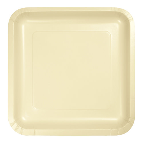 "Creative Converting Ivory - Plates, 9"" Square Paper 18ct"