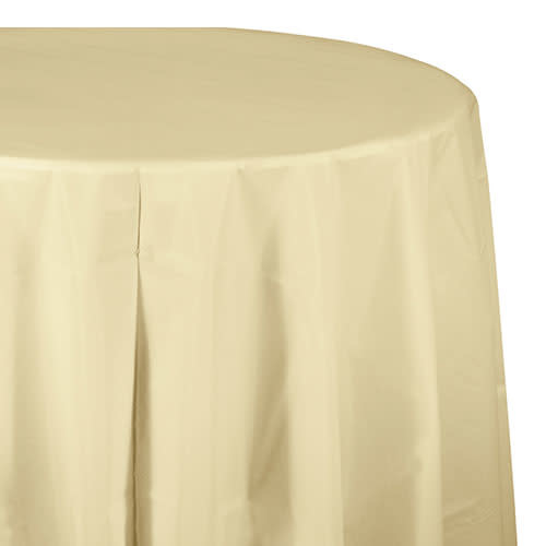 """Creative Converting Ivory - Tablecover, 82"""" Rnd Plastic"""