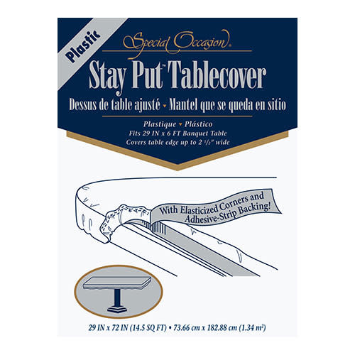 Creative Converting White - Tablecover, 29x72 Stay Put Plastic
