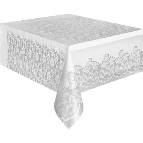 Unique White - Tablecover, 54x108 Plastic Lace