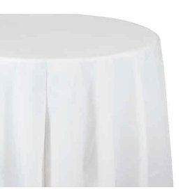 """Creative Converting White - Tablecover, 82"""" Rnd Plastic"""