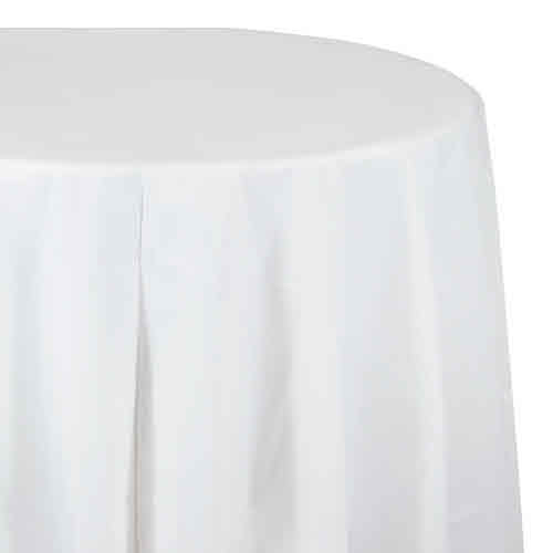 "Creative Converting White - Tablecover, 82"" Rnd Plastic"