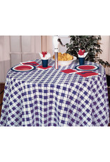"Creative Converting Blue Gingham - Tablecover, 82"" OctyRound Plastic"