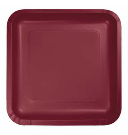 "Creative Converting Burgundy - Plates, 7"" Square Paper 18ct"