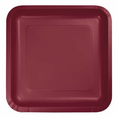 "Creative Converting Burgundy - Plates, 7"" Square Paper 18ct"