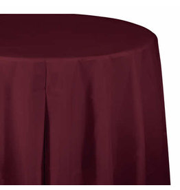 "Creative Converting Burgundy - Tablecover, 82"" Rnd Plastic"