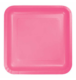 """Creative Converting Candy Pink - Plates, 9"""" Square Paper 18ct"""