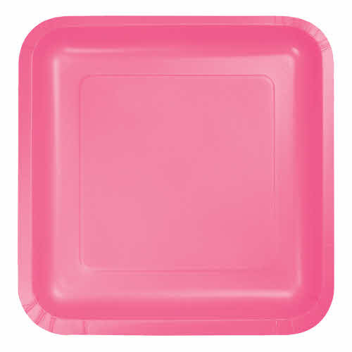 "Creative Converting Candy Pink - Plates, 9"" Square Paper 18ct"