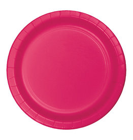 "Creative Converting Hot Magenta - Plates, 7"" Round Paper 24ct"