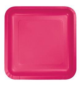 "Creative Converting Hot Magenta - Plates, 7"" Square Paper 18ct"