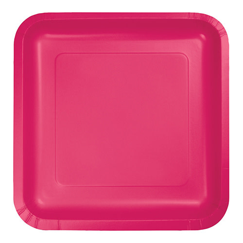 "Creative Converting Hot Magenta - Plates, 9"" Square Paper 18ct"