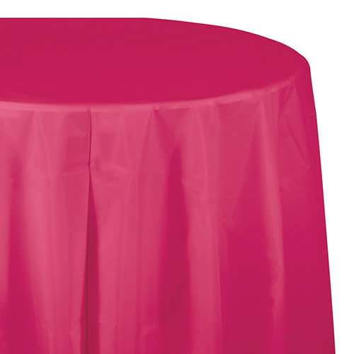 "Creative Converting Hot Magenta - Tablecover, 82"" Rnd Plastic"