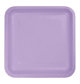"Creative Converting Luscious Lavender - Plates, 7"" Square Paper 18ct"