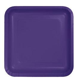 "Creative Converting Purple - Plates, 7"" Square Paper 18ct"