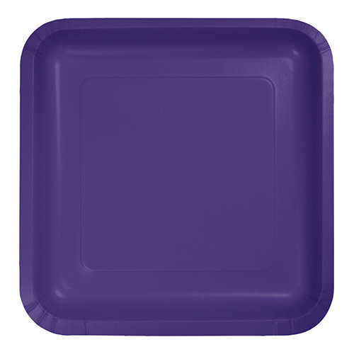 "Creative Converting Purple - Plates, 7"" Square Paper 18ct"