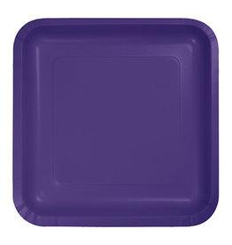 "Creative Converting Purple - Plates, 9"" Square Paper 18ct"