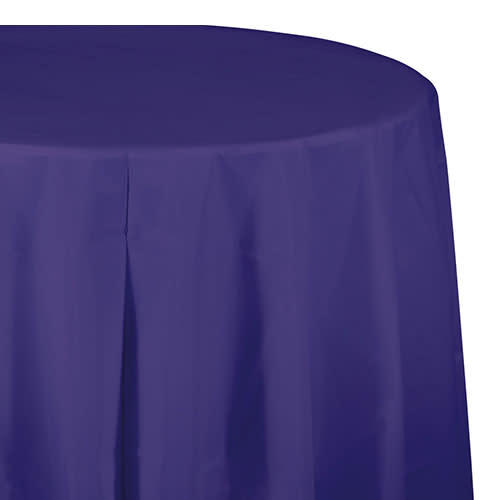 "Creative Converting Purple - Tablecover, 82"" Rnd Plastic"