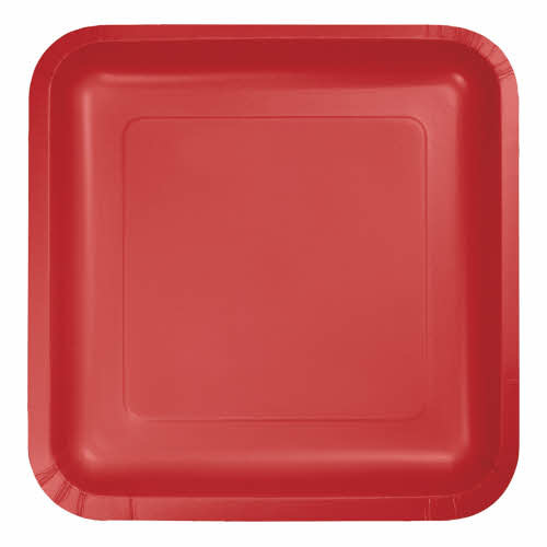"""Creative Converting Classic Red - Plates, 7"""" Square Paper 18ct"""