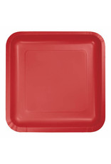"Creative Converting Classic Red - Plates, 9"" Square Paper 18ct"