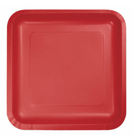 """Creative Converting Classic Red - Plates, 9"""" Square Paper 18ct"""