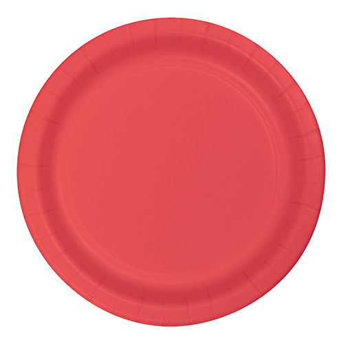"Creative Converting Coral - Plates, 7"" Round Paper"