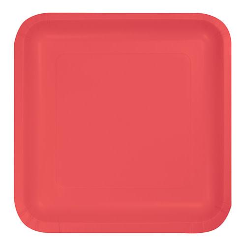 "Creative Converting Coral - Plates, 7"" Square Paper"