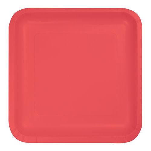 "Creative Converting Coral - Plates, 9"" Square Paper"