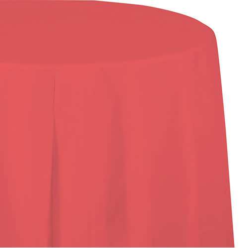 """Creative Converting Coral - Tablecover, Plastic 82"""" Round"""