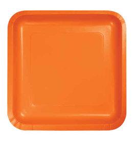 """Creative Converting Sunkissed Orange - Plates, 7"""" Square Paper 18ct"""