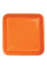 """Creative Converting Sunkissed Orange - Plates, 9"""" Square Paper 18ct"""